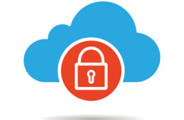 Cloud storage access denied drop shadow icon. Isolated vector illustration. Cloud computing. Security